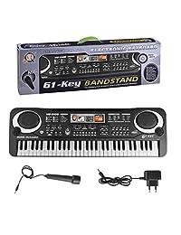 61键儿童电子琴 益智早教乐器 仿真音乐钢琴乐器 儿童电子玩具带麦克风 (电子钢琴)
