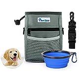 PAWABOO 狗狗*训练袋和可折叠硅胶食品水碗,带可调节肩带,无需手持存放零食和玩具,非常适合宠物小狗训练旅行小狗散步,灰色