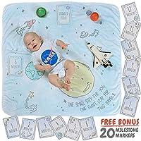 婴儿每月里程碑毛毯,带 20 个里程碑瞬间道道具,摄影毯,*厚绒毛毯背景,适合女孩和男孩 外空 40 x 40 Inch