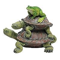 Design Toscano In Good Company 青蛙和乌龟花园动物雕像,27.94 cm,合成树脂,全色
