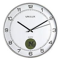 UNILUX 400094592 Tempus 非滴答静音挂钟 2 合 1 带数字显示屏,温度灰色,带温度计 30 厘米 LCD 摄氏度,模拟时钟 适用于客厅,厨房,儿童房