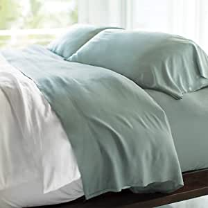 Cariloha Resort 竹床单 4 件套床单 - 奢华缎纹编织 - * 竹纤维床上用品 海洋喷雾 加州King size