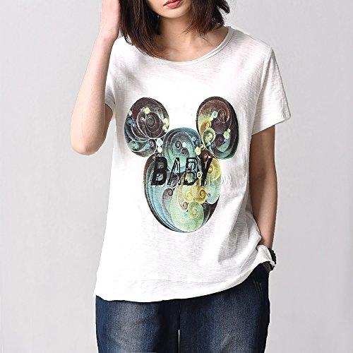 自语2017夏季新款短袖T恤女棉时尚印花舒适圆领宽松打底衫显瘦潮