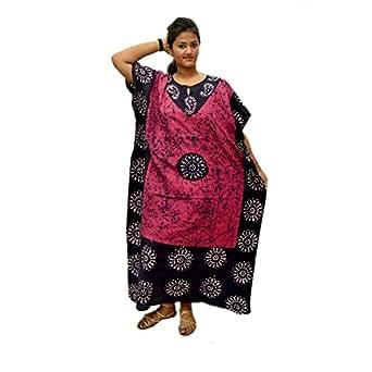 Odishabazaar 女式棉质长袍印花长袍长袍长裙均码(pl-2004)