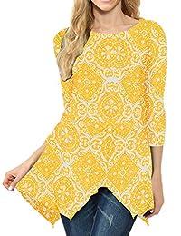 MIROL 女式春季印花七分袖不规则下摆不对称束腰宽松长衬衫上衣