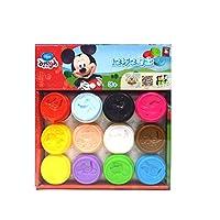 Disney 迪士尼 橡皮泥模具无毒安全彩泥套装12杯DS-1602(新老包装 随机发货)