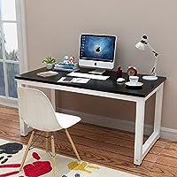 电脑桌台式桌主机笔记本家用经济型书桌写字台简易小孩学习桌书桌餐桌简约现代钢木办公桌子双人桌 (黑色(白色桌脚), 长度80x宽度50cm)