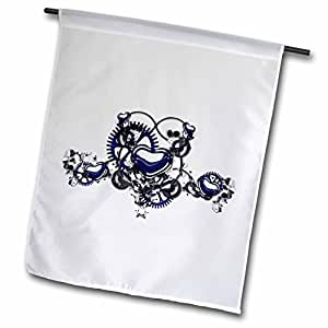 dooni Designs 蒸汽朋克设计–蒸汽朋克 blue Steel Hearts cogs GEARS 印花设计–旗帜 12 x 18 inch Garden Flag