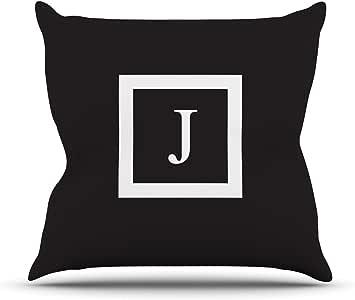 Kess InHouse KESS 原创交织字母纯黑色字母 L 户外抱枕,50.8 x 50.8 厘米