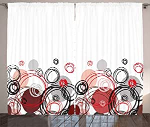 Abstract Curtains by Ambesonne, Horizontal Stripe Design and Geometric Circles Rounded Shapes Art Illustration, Living Room Bedroom Window Drapes 2 Panel Set, 108W X 63L Inches, Black Red Grey