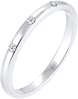 DIAMORE Women Silver 925 Sterling Silver Diamond Ring  Silber 56