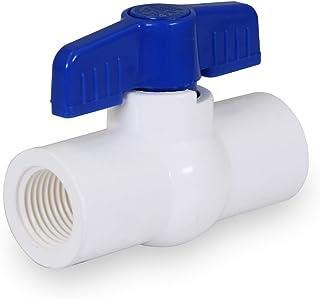 Midline Valve 487U112 PVC 球阀蓝色 T 型手柄适用于饮水 3.81 厘米FIP 白色塑料
