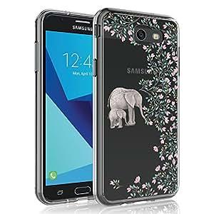 三星 Galaxy J7 V 2017(*代)手机壳/Galaxy J7 2017 / Galaxy J7 Prime/Galaxy J7 Perx/Galaxy J7 Sky Pro/Galaxy Halo,SYONER [耐刮擦]超薄透明手机壳盖 大象灰
