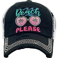 Funky Junque 女式棒球帽做旧复古未构造刺绣爸帽