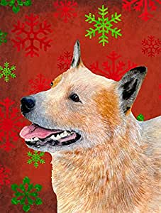 Australian Cattle Dog Red Green Snowflakes Christmas Flag 多色 大