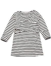 女士 V 领孕妇束腰上衣七分袖经典侧条纹 T 恤孕妇装