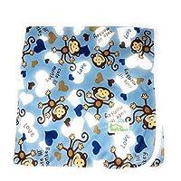 设计师图案超柔软大号 73.66 厘米 x 73.66 厘米可洗婴儿尿布更换垫 蓝色猴子