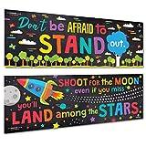 Sproutbrite 教室横幅/海报装饰品 - 对教师、学生的励志和激励 - 2 个海报包 - 各 33.02 cm x 99.06 cm
