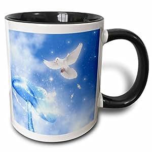 3drose simone gatterwe Designs 天使天堂门–A 鸽子苍蝇 IN A SKY 和 LOSE 羽毛 with A 梦幻蘑菇–马克杯 黑色/白色 11-oz Two-Tone Black Mug