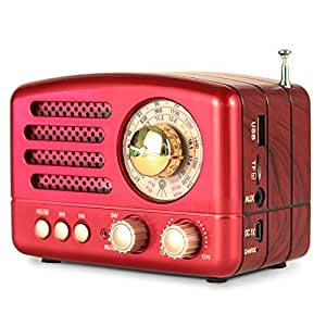 PRUNUS 经典复古木类似迷你 FM AM SW MP3 蓝牙晶体管可充电收音机,支持 AUX 功能,270°大罗盘调节窗口,支持闪存驱动器8541720434