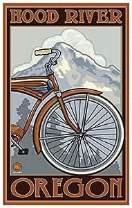 Northwest Art Mall Hood River Oregon 自行车带框艺术印刷品,Paul A. Lanquist。 12x18 inch PAL-1045 B