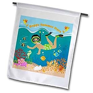 belinha fernandes–夏季 AT THE Beach–afro-american 男孩装备水肺潜水 IN 珊瑚 Sea with 彩色鱼–旗帜 12 x 18 inch Garden Flag