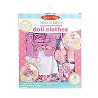 Melissa & Doug Mine to Love 混搭时尚娃娃衣服,适合 30.48 厘米 - 45.72 厘米玩偶(6 件,女孩和男孩的*礼物 - 适合 3 岁、4、5 岁及以上儿童)