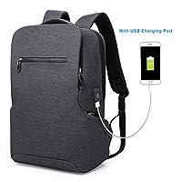 tocode 笔记本电脑背包商务包带 USB 充电端口防盗防水学生书包适用于学院旅行背包适用于13.3英寸笔记本电脑和笔记本电脑黑色