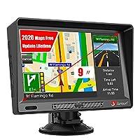 车载GPS,9英寸GPS导航,带遮阳的高清触摸屏,8GB 256MB卫星导航,适用于美国、加拿大、墨西哥的车辆,终身地图免费更新