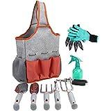 园艺工具套件 - 花园工具套件 - 园艺手套,9 件花园工具套件 - 挖掘爪园艺手套园艺礼物工具套件 - 种植工具 - 园艺用品篮 - Rake 手套
