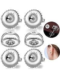 耳环背面 3 对螺丝,18K 镀金纯银*耳环背面替换钻石耳环耳钉,低*螺丝锁 适用于螺纹柱(0.032 英寸)
