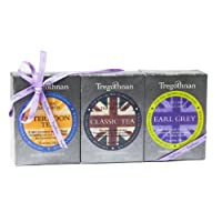 Tregothnan 3-in-1 Black Tea Gift Set Classic/ Afternoon/ Earl Grey (Pack of 1, Total 30 Sachets)