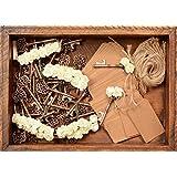 婚礼礼品 - 婚礼礼品 开瓶器 - 乡村复古开瓶器,带 Escort 卡片标签、玫瑰和双* 50 件 白色