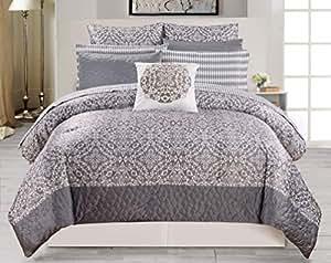 Duck River Textiles 10 Piece Ashlee Comforter Set, Grey, Queen