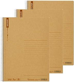 Maruman B5 精裝螺旋筆記本,寬橫格紙,80 頁,N256ES 3