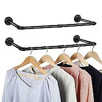 工业风衣架2件套,铁衣架多功能储物衣架,壁挂式衣架,黑色