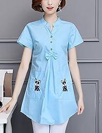DVG 夏装新款衬衫女短袖中长款套头上衣休闲立领衬衣大码百搭打底衫上衣T恤女 DW8503