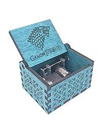 《权力的游戏》音乐盒手曲柄音乐盒雕刻木,播放权力的主题歌曲 Design3-blue QLYX-3blue