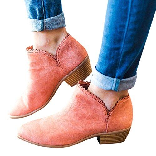 女式厚实拉链纹理封闭尖头低跟纯色西部及踝靴