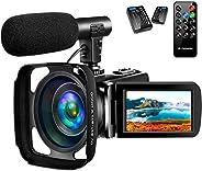 4K 摄像机视频摄像机适用于 YouTube,带麦克风的Vlogging相机超高清 30MP 16X 数字变焦 270 度旋转触摸屏视频摄像机支持遥控器