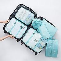 Csliving 旅行收纳袋行李内衣收纳袋旅游整理袋衣服收纳包防水行李分装整理包7件套 (亮蓝色)