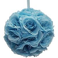 Firefly Imports Flower Kissing Balls Pomander Pom Pom Wedding Centerpiece, Blue