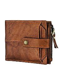 Spiffy 棕色真皮獵人皮革錢包男式真皮男士錢包帶信用卡包
