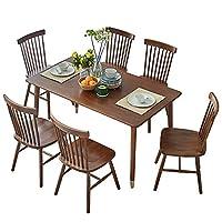 百伽 全实木餐桌椅组合 一桌四椅65668/61944/61944胡桃木色 1.4米金属脚桌+4把温莎椅【亚马逊自营,供应商配送】