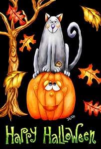 Toland Home Garden Pumpkin Cat 28 x 40 Inch Decorative Happy Halloween Autumn Leaves Kitty Jack-O-Lantern House Flag