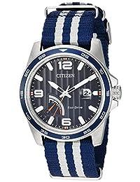 Citizen AW7038-04L Men's PRT Eco-Drive Blue Dial Navy Blue & Nylon Strap Power Reserve Watch