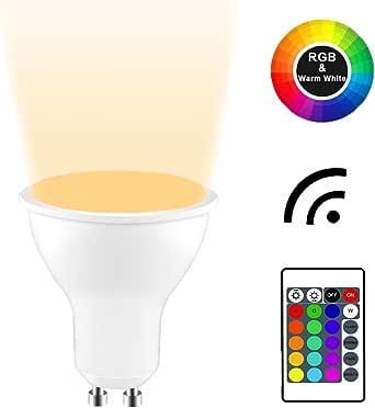 YAYZA! 高级可调光 GU10 6W RGB 变色红外遥控器 LED 聚光灯筒灯泡 Rgb + Warm White 1包
