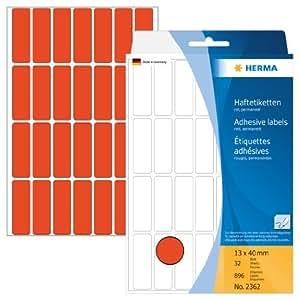 HERMA 多用途 - 标签, 用于标记, 解决, 13 x 40毫米, 896件 红色 红色