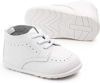 Meckior 婴儿男孩女孩经典 PU 皮革婚礼乐福鞋布洛克学步鞋牛津正装鞋步行平底懒人婴儿鞋