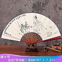 10寸竹芯手绘白纸扇礼品扇中国风山水折扇男扇子折扇江山如此多娇送一